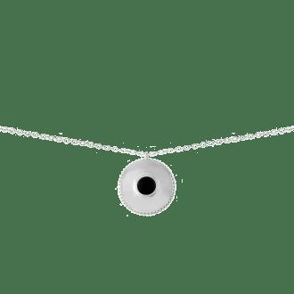 Collar con colgante medalla decorado con piedra negra onix