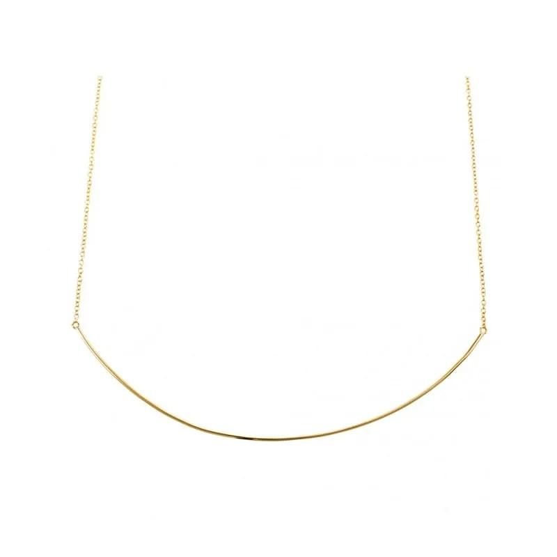 Collar con colgante muy fino en forma de tubo dorado