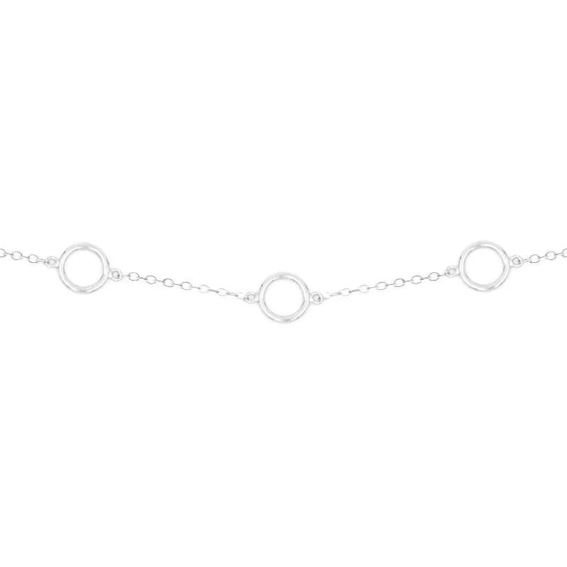 cadena con colgantes círculo en plata de ley