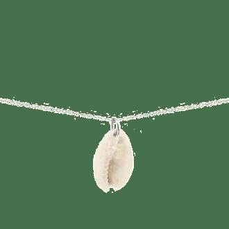 Collar con colgante de concha natural y cadena larga en plata de ley