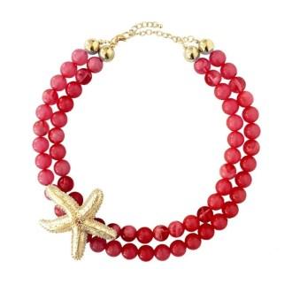 collar estrella de mar en color rojo