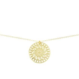 Collar con colgante mandala en plata bañada en oro