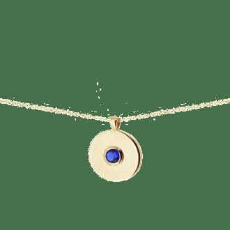 Colgante redondo karma con circonita azul zafiro