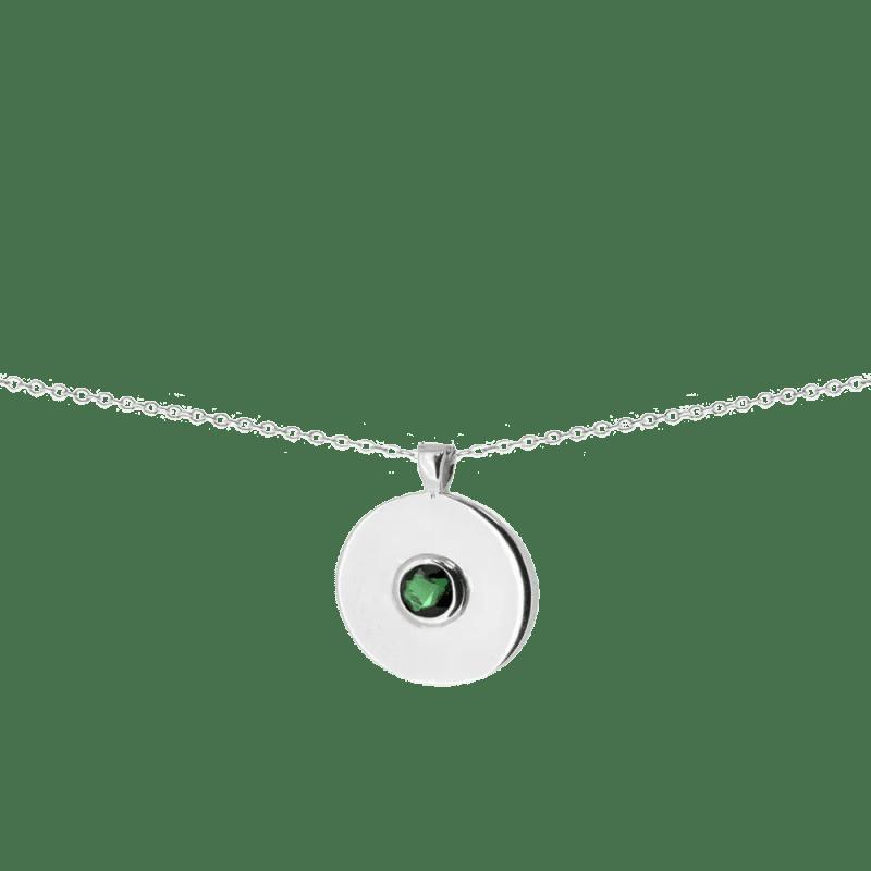 Colgante chapa con piedra verde esmeralda