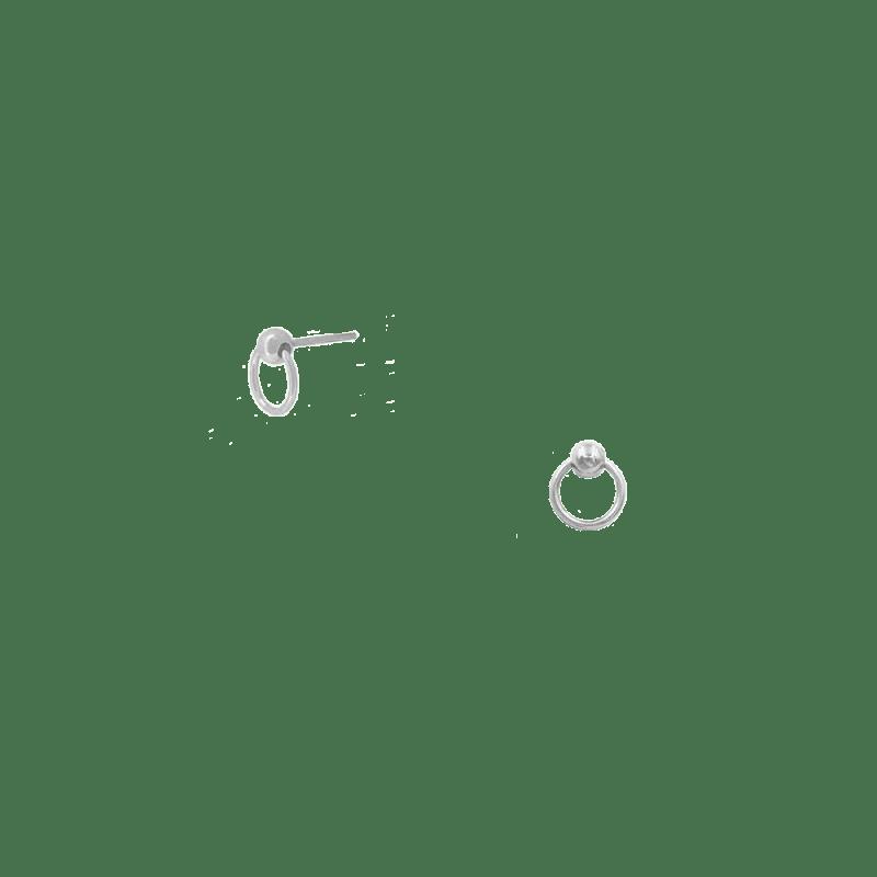 Pendientes mini aro con bolita en plata de ley