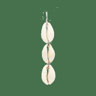 pendiente largo de conchas en plata de ley