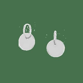 Pendientes de aro en plata de ley con colgante chapa circular