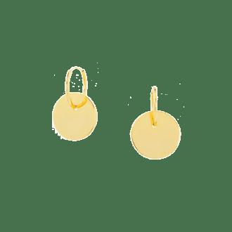 Pendientes de aro con colgante chapa circular