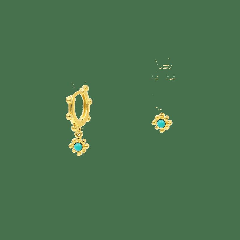 Pendientes asimétricos de flor turquesas y oro