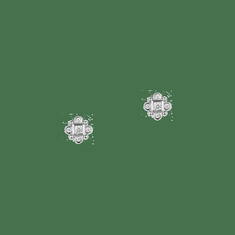 Pendientes pequeños en plata de ley con zirconitas