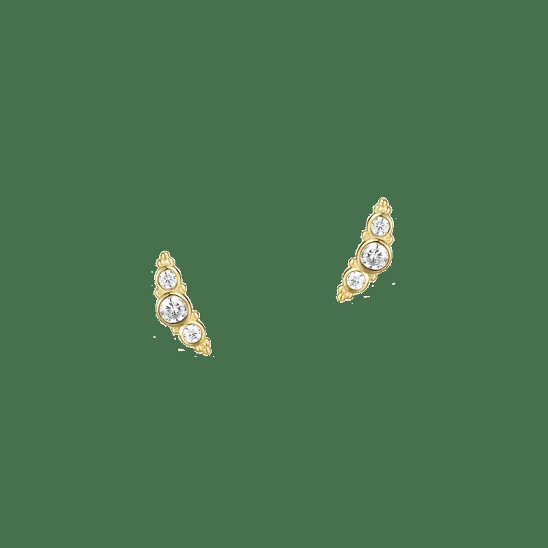 Pendientes trepadores con tres zirconitas