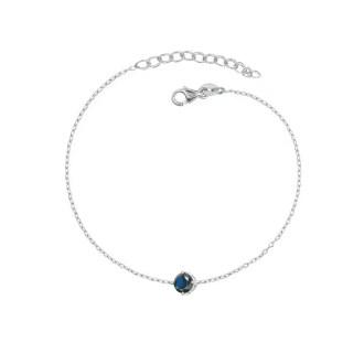 Pulsera con circonita central en tono azul zafiro en plata de ley