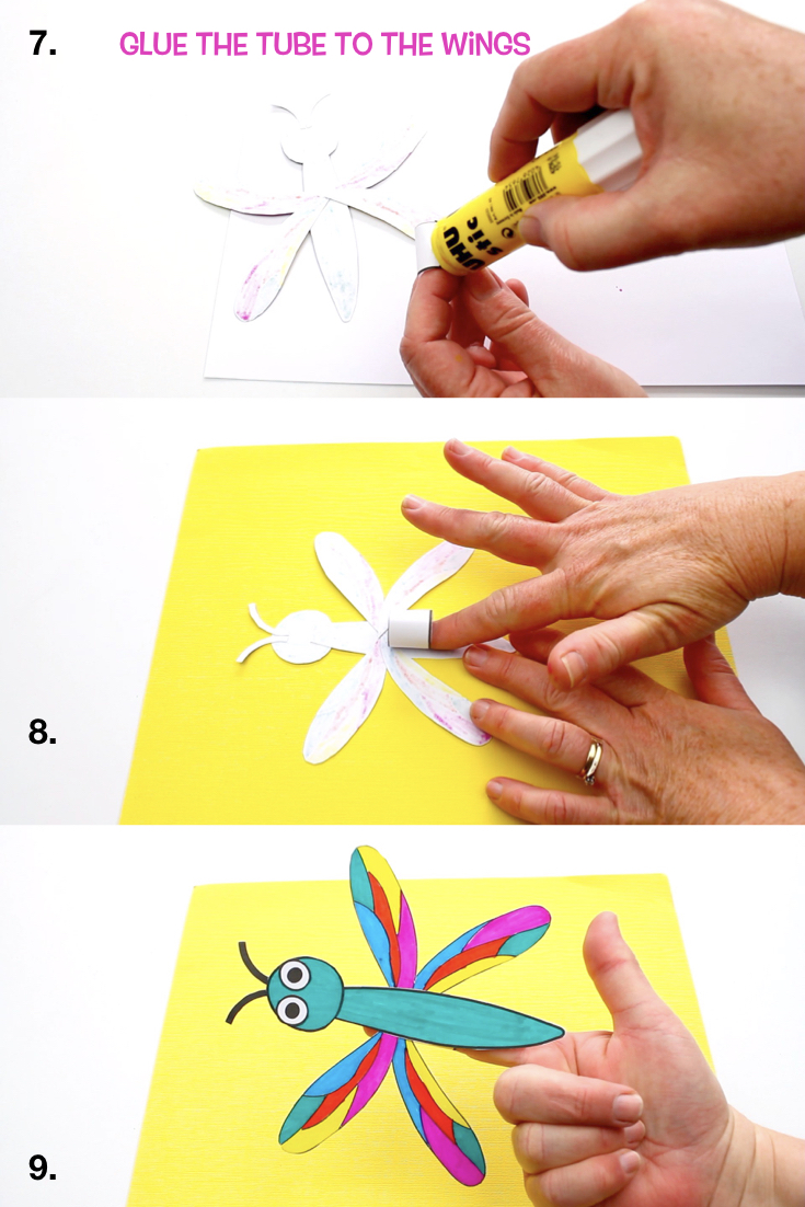 We love making puppets and we hope you like making them as well. Here is our delightful dragonfly finger puppet which we made out of thick paper for durability. Print out our free template and watch the video or view our picture tutorial to see how we make the dragonfly.