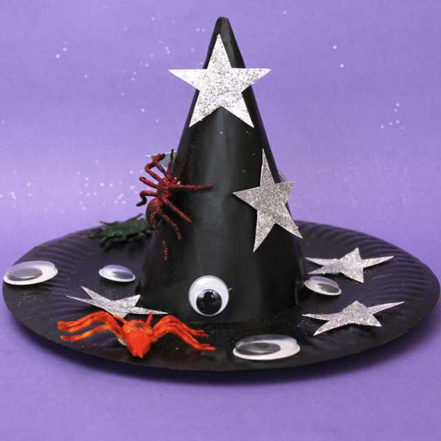 Here is a Halloween treat for you! Download our party hat template and follow our video instruction to see how we put the hat together. This witch's hat makes a great accessory to any witch costume for Halloween. #halloween #witch'shat #costume #kidscrafts #paperplate #halloweencreafts