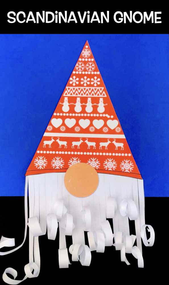 This gnome is great fun and super simple to make for your next Christmas craft project. Download our template, cut out the shapes, and stick them onto a piece of card stock. Roll up the paper to make a curly gnome beard. #christmascrafts #kidscrafts #papercrafts, #preschoolcrafts,