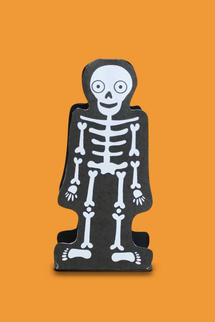 Here is a fun animation naming the bones of the skeleton. Play along and see how many you can name! Also, we have included a free skeleton puppet craft for you to cut out and make for your own. #halloween #kidscrafts, #science #steam #humanbody #skeleton #kidsactivities