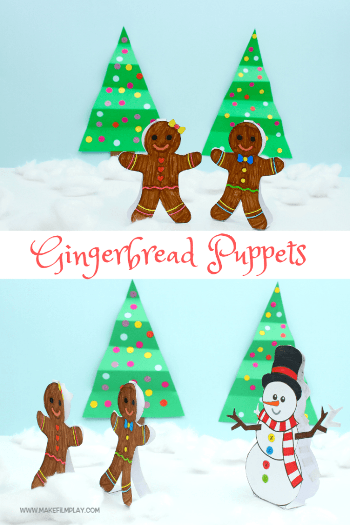 This is a fun paper craft project you can print and make yourself. Get out your colouring pens, cut and assemble the gingerbread people, and enjoy hours of creative, imaginary play! Or, you can display them as a Christmas decoration. #kidscrafts #papertoys #christmascrafts #puppets #christmas #papercrafts
