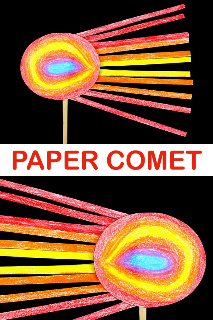If you are looking for an easy space craft for the kids, why not try our paper comet? #kidscrafts #spacecrafts, #printable #STEAM #kidsactivities