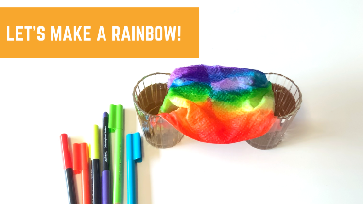 Let's make a rainbow! Try this super fun experiment with the kids. They will be amazed.