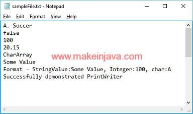 write to file in java using printwriter