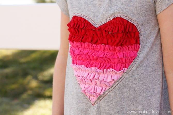 Ruffle Heart Shirt Tutorial