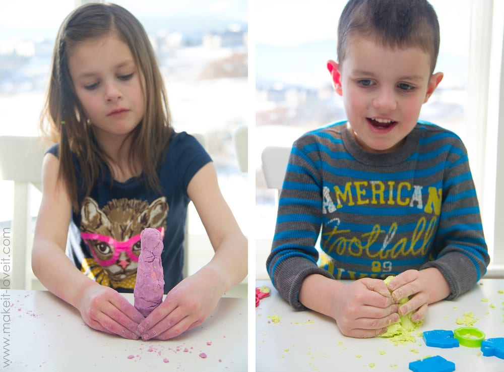 Make your own Moon Sand (crumbly, yet moldable)........great indoor activity! --- Make It and Love It