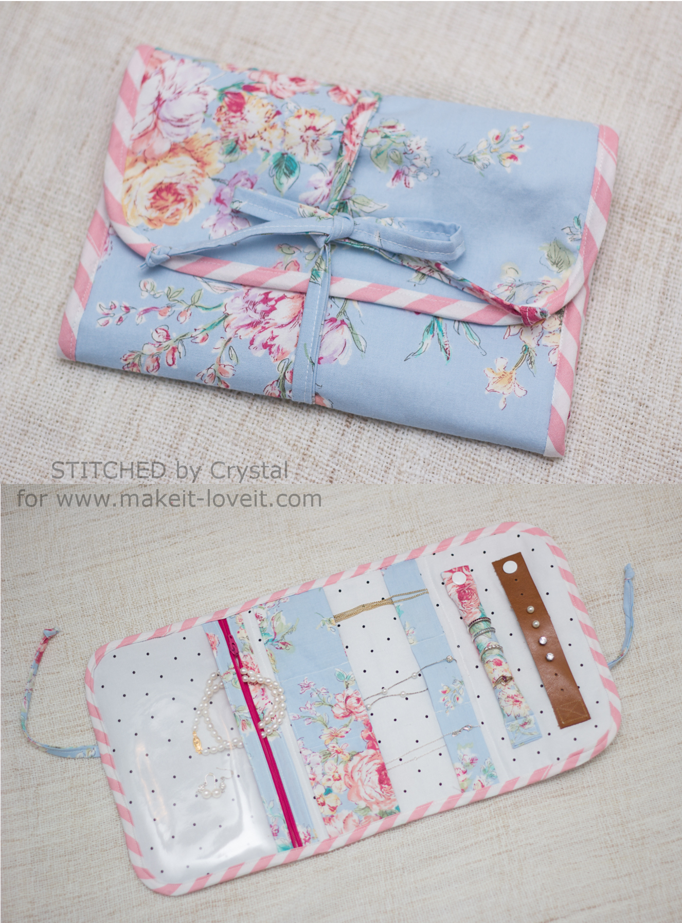 Travel Jewelry Clutch Tutorial....no more tangled or lost jewelry!   via www.makeit-loveit.com