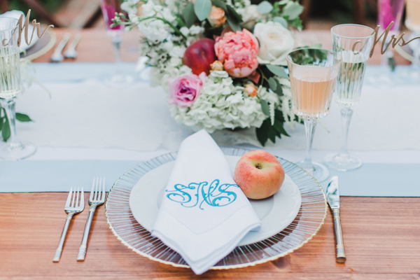 Monogram and Peach Place setting