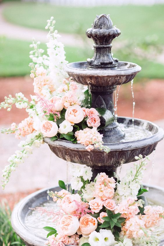 Pinterest wedding fountain florals