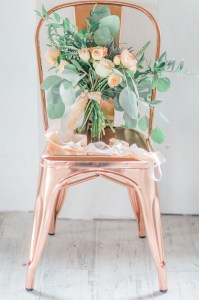Peach and copper wedding inspiration rental company chairs