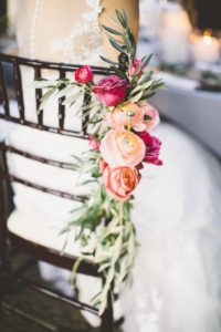 Wedding flowers on chair