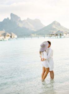 couple on the beach on their honeymoon