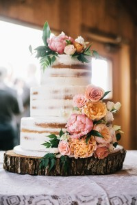 naked wedding cake in barn