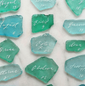 sea glass name tags beach wedding