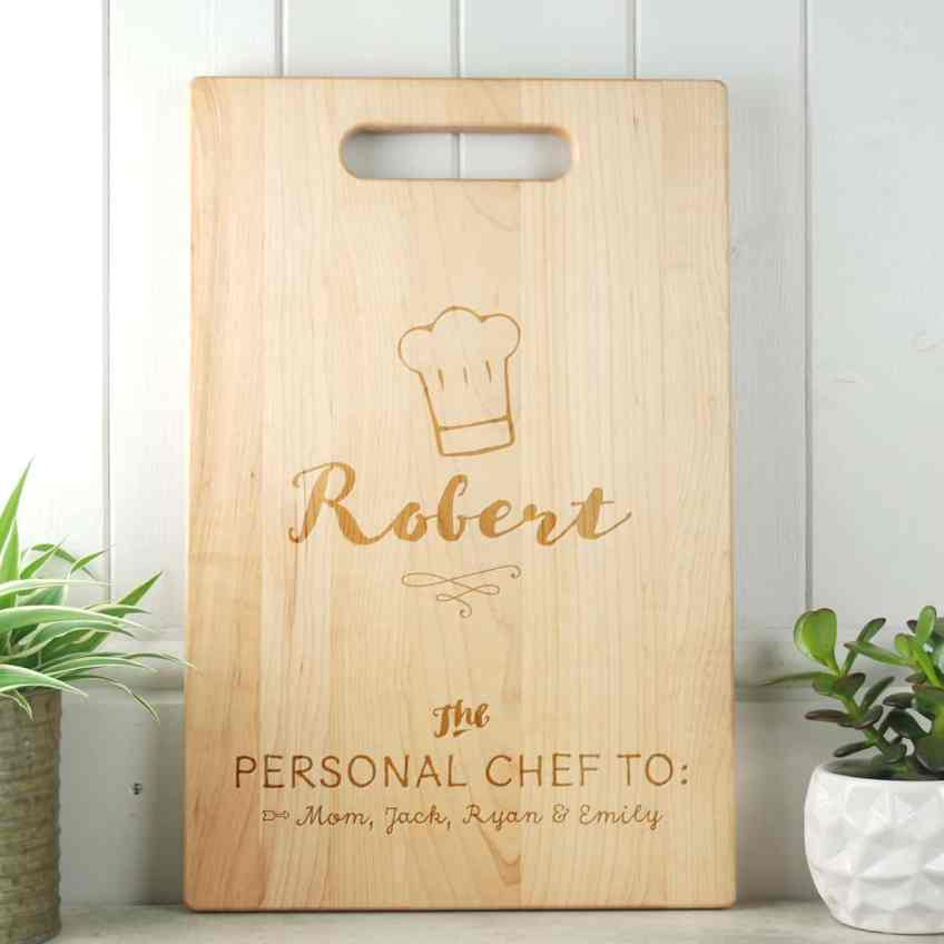Gifts for Dads Personal Chef Maple Chopping Board