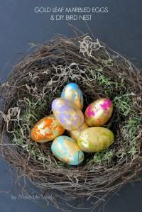 Gold Leaf Marbled Easter Eggs and DIY Bird Nest