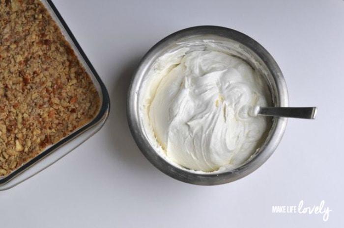 Cream Cheese Layer and Pretzel Layer for Strawberry Pretzel Dessert Recipe