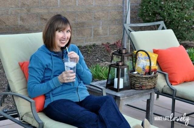 Mom enjoying her backyard refresh