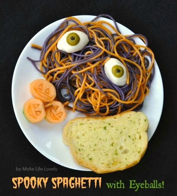 Spooky Spaghetti with Meatballs | by Make Life Lovely