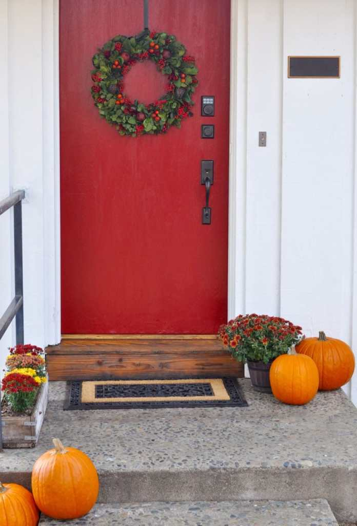 Red front door makeover