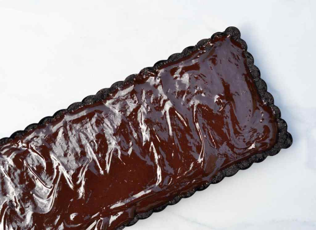 Chocolate ganache for the strawberry chocolate tart