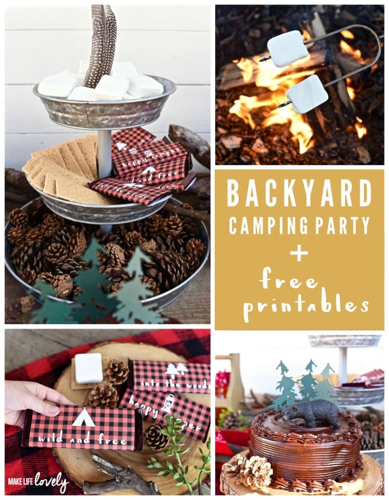 Tons of Backyard Camping Party Ideas + Free Printable Chocolate Bar Wrappers for S'mores