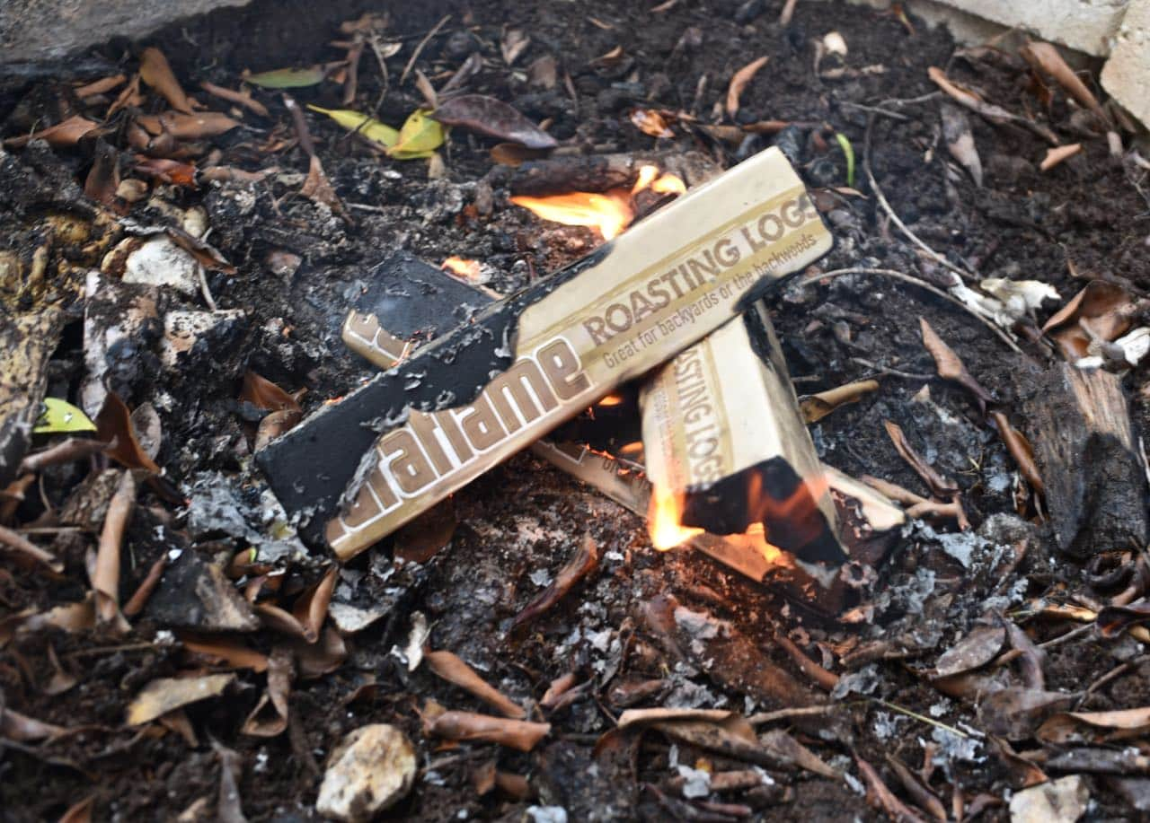 Starting a fire with Duraflame Campfire Roasting Logs