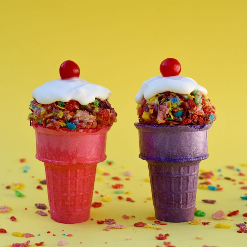 Fruity Pebbles Ice Cream Cone Treats