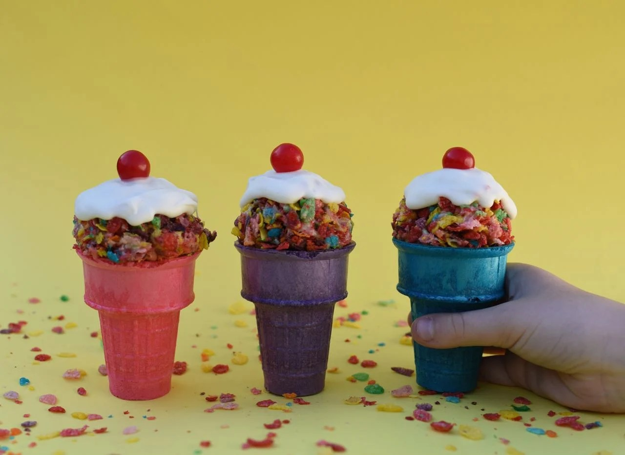 Fruity Pebbles Ice Cream Cone Treats Kid Snack