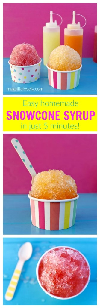 Snowcone Syrup Recipe you can make in 5 minutes! Made from juice, not Kool Aid packets.