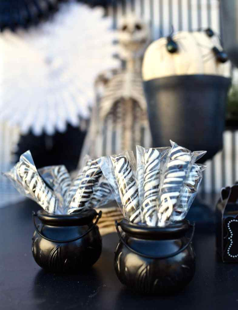 Black and white striped Halloween party candy