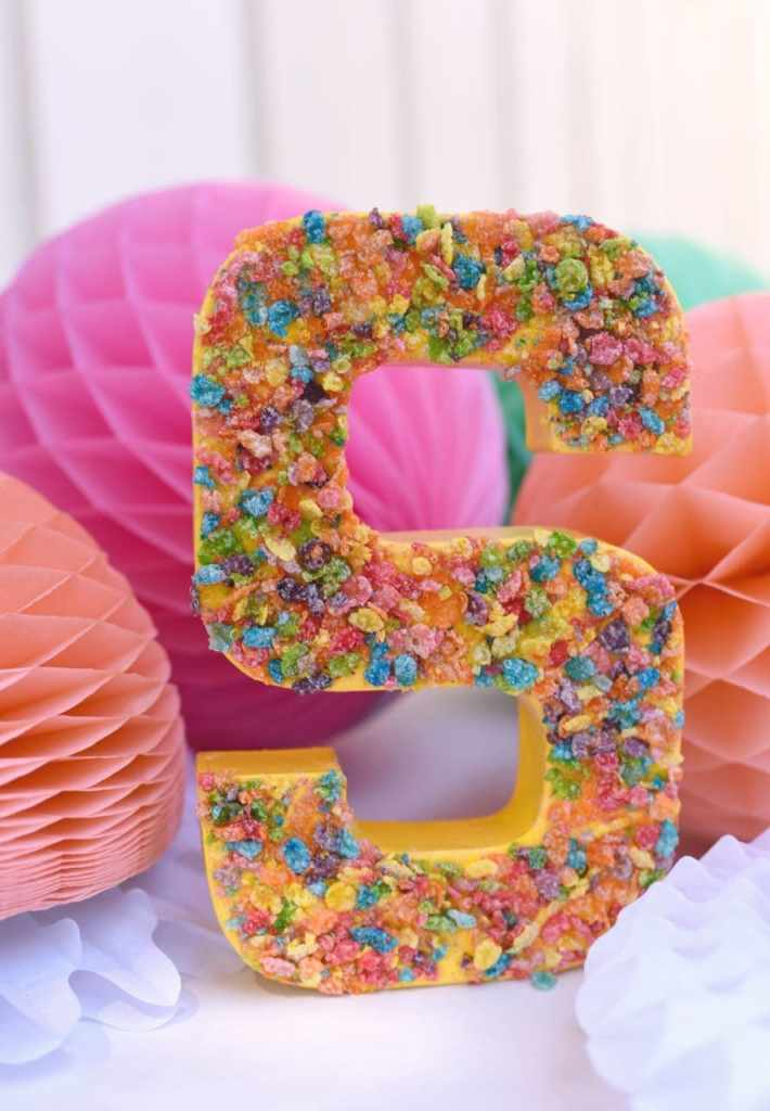 Cardboard Letter Craft with Fruity Pebbles