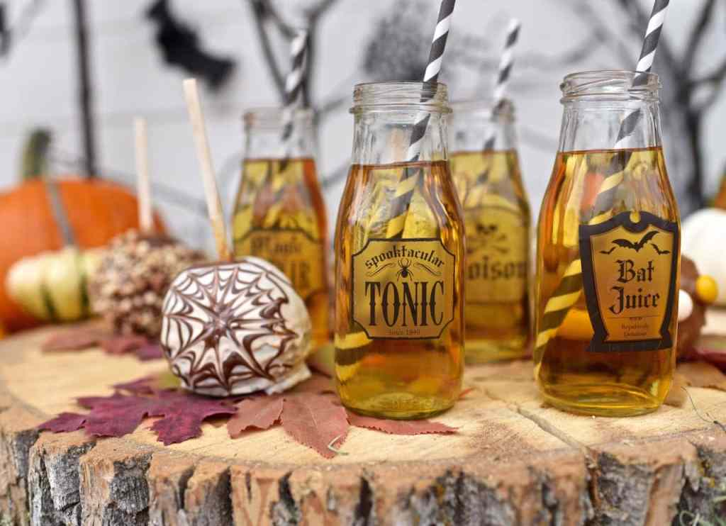 Gourmet caramel apples and apple cider for Halloween