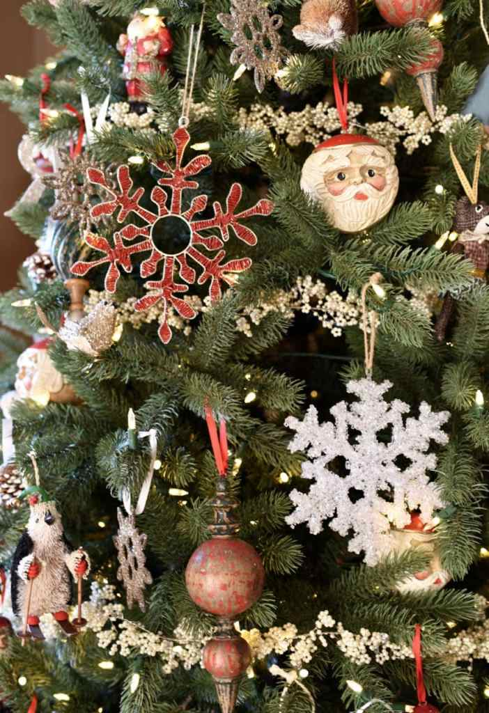 Christmas tree with ornaments at a tree decorating party